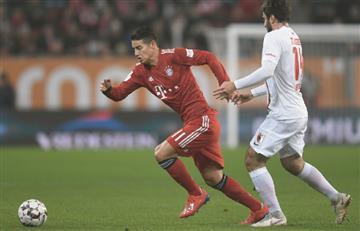 Bundesliga: James Rodríguez fue titular en la remontada de Bayern al Augsburgo [VIDEO]