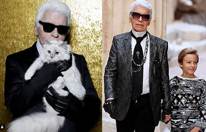 La inmensa fortuna de Karl Lagerfeld en manos de su gato y un niño. Foto: Twitter/Instagram.