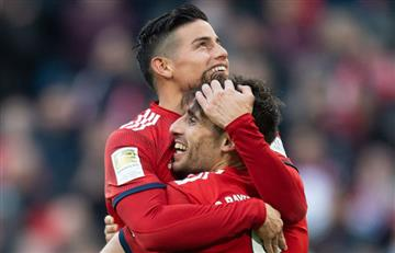 [VIDEO] ¡Bien el colombiano! James hace 'pasegol' para la victoria de Bayern Múnich