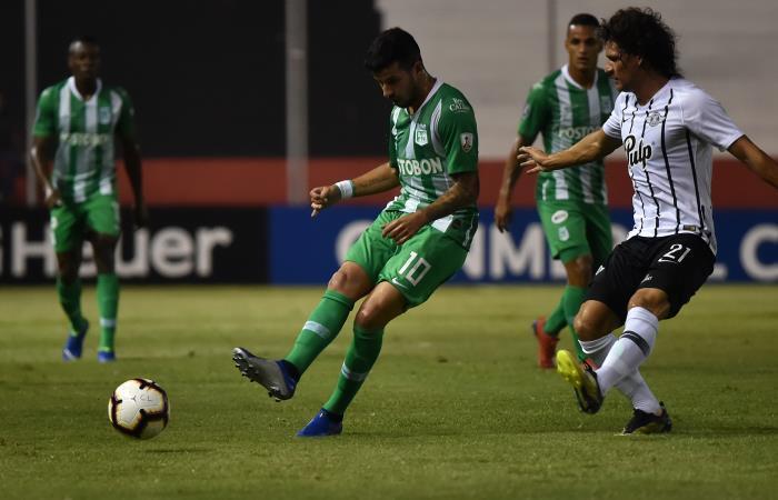 Atlético Nacional perdió ante Libertad en el partido de ida de la segunda fase de Copa Libertadores. Foto: AFP