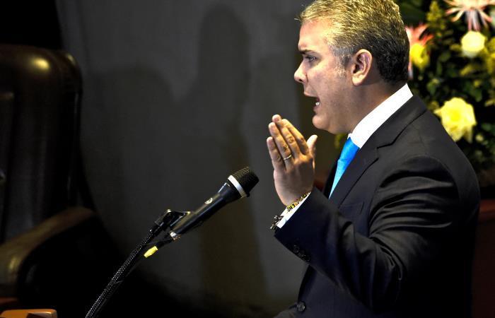 El presidente Iván Duque durante un debate en la Corte Constitucional. Foto: AFP