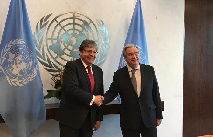 El canciller representó las ideas de Iván Duque ante el secretario general de la ONU. Foto: Twitter