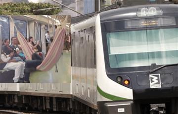 Colgó hamaca en pleno metro de Medellín y se hizo viral