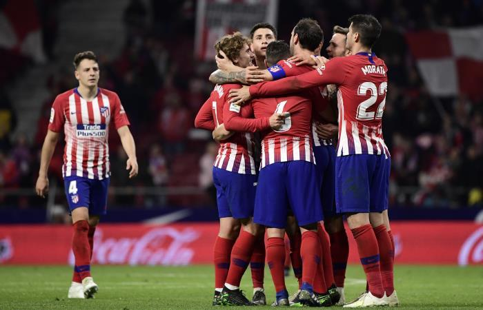 Santiago Arias presente en la victoria de Atlético de Madrid. Foto: AFP