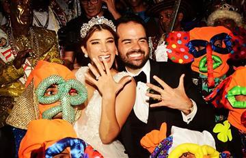 ¡Una boda a ritmo de carnaval! Así celebraron Andrea Jaramillo y Felipe Restrepo su matrimonio