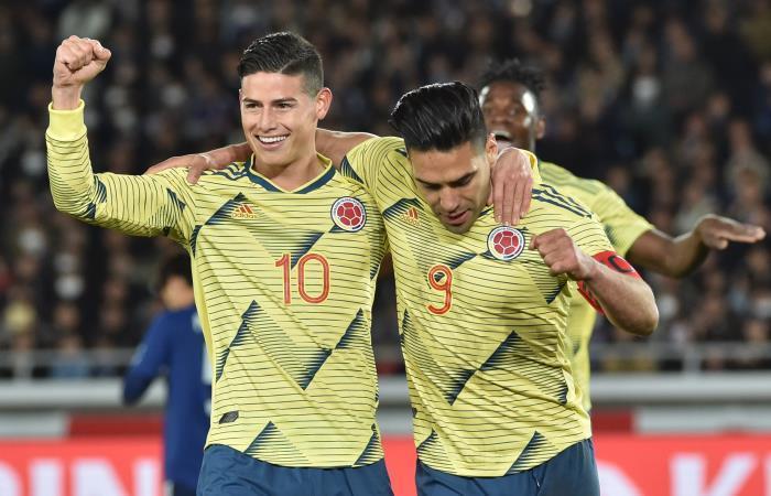 James y Falcao en amistoso de la Selección Colombia. Foto: AFP