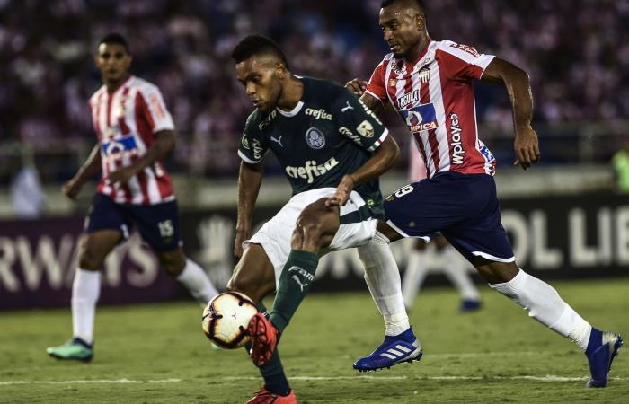 Junior y Palmeiras en la primera fecha de la Copa Libertadores. Foto: AFP