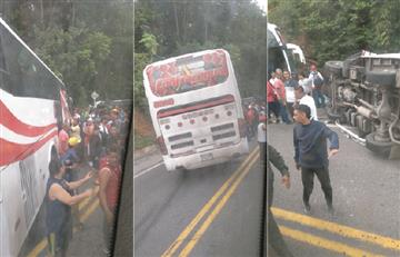 [VIDEO] Bus que transportaba a hinchas de Junior se accidentó
