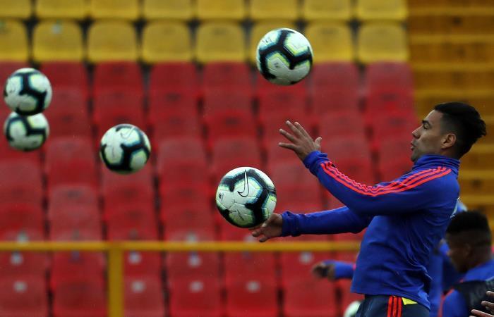 Radamel Falcao García en entrenamiento con la Selección Colombia. Foto: EFE