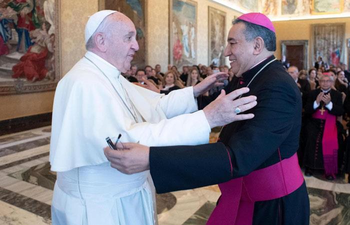 El papa Francisco, durante una visita de los Prelados de la Conferencia Episcopal indonesia, en el Vaticano. Foto: EFE