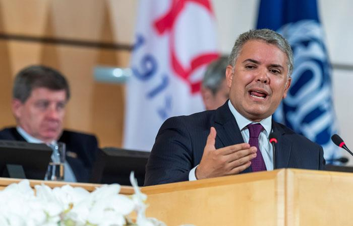 Iván Duque durante intervención en la conferencia anual de la Organización Internacional del Trabajo (OIT), en Ginebra, Suiza. Foto: Twitter