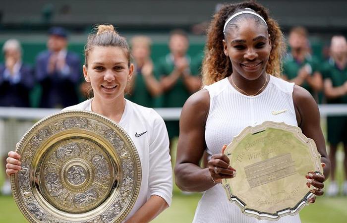 Simona Halep (I) campeona de Wimbledon. Serena Williams subcampeona. Foto: EFE