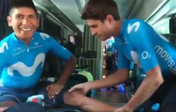 [VIDEO] ¿Si son amigos? Así masajea Mikel Landa a Nairo Quintana