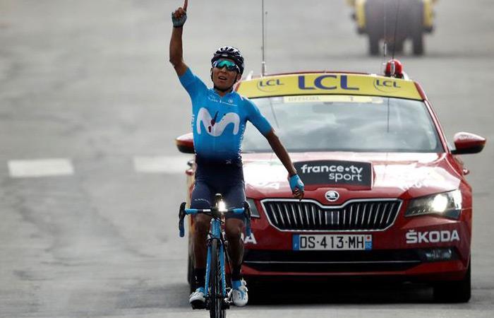 Nairo Quintana gana la etapa 18 del Tour de Francia. Foto: EFE