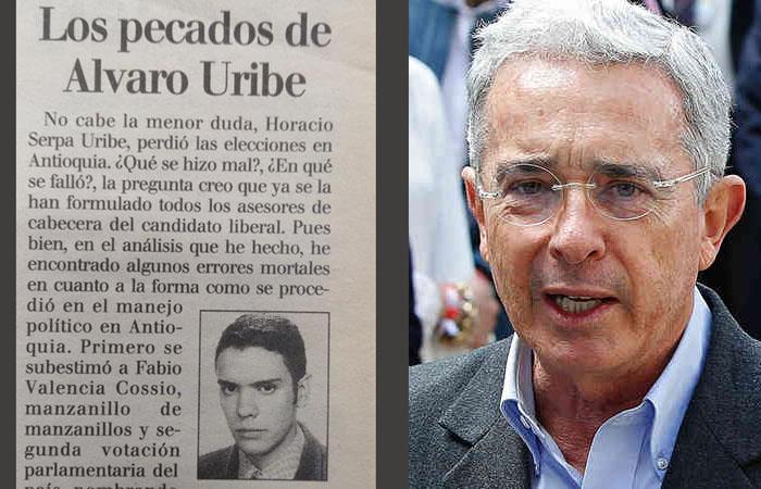 Columna de Iván Duque en contra de Álvaro Uribe, escrita en 1998. Foto: Twitter