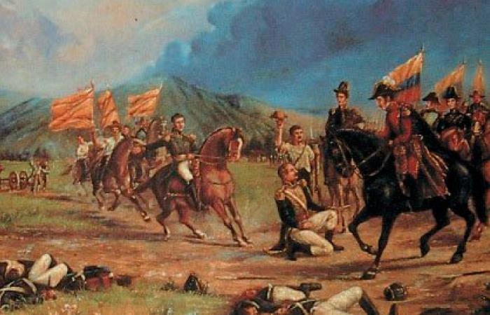 Rendición del general español José María Barreiro en la batalla de Boyacá. Foto: Twitter