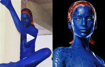 Con pintura, sin brasier y en diminuto panty: Andrea Valdiri baila 'twerk' disfrazada de 'Mystique'