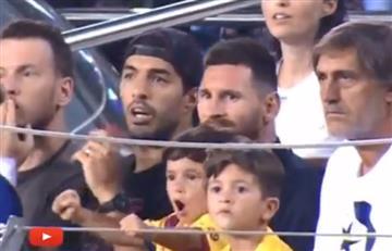[VIDEO] El hijo de Lionel Messi cantó un gol del equipo rival y frente a su padre