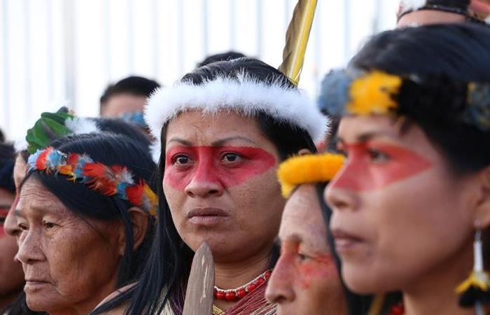 Mujeres indígenas durante protesta en Ecuador. Foto: EFE