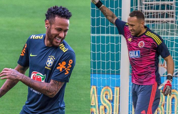Neymar Jr., delantero de Brasil (izq), y David Ospina, arquero de Colombia (der). Foto: EFE