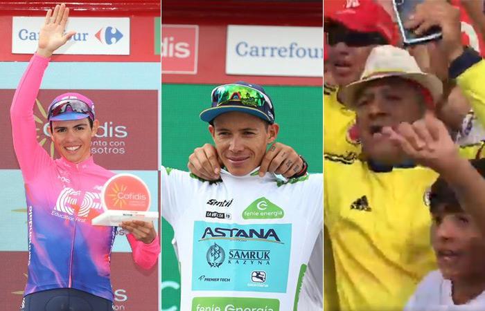 Sergio Higuita, ganador de etapa, Superman con la blanca y los aficionados colombianos. Foto: Prensa La Vuelta / EFE