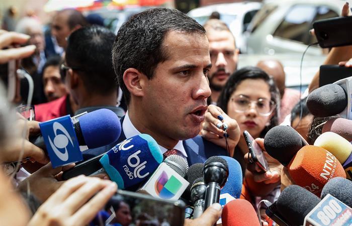 El presidente de la Asamblea Nacional, Juan Guaidó, durante la conmemoración de los 78 años de fundado el Partido Acción Democrática, en Caracas (Venezuela). Foto: EFE