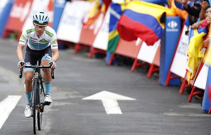 'Superman' López no pudo mantener su lugar en el podio de La Vuelta. Foto: EFE