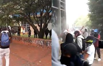 [Video] Encapuchados atacaron el edificio del Icetex con piedras y bombas molotov