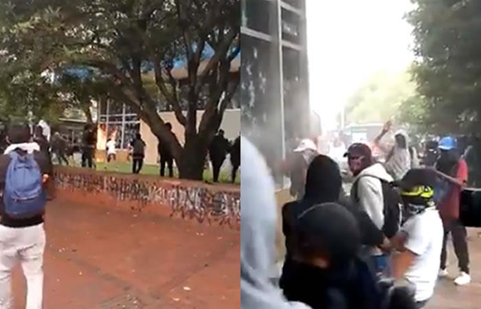 En marchas estudiantiles, encapuchados lanzan piedras y bombas molotov al edificio del Icetex