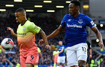 Everton con Yerry Mina cayó de local ante Manchester City