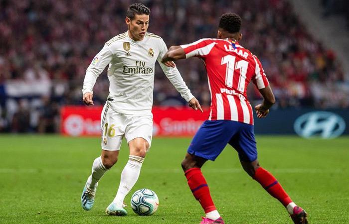James Rodríguez en el clásico ante Atlético de Madrid. Foto: EFE