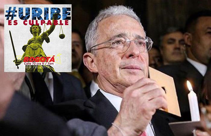 Plantón contra Álvaro Uribe. Foto: Instagram