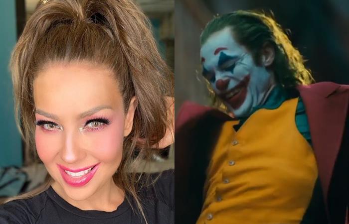 Thalía es tendencia en redes por 'parecerse' al Joker. Fotos: Instagram.