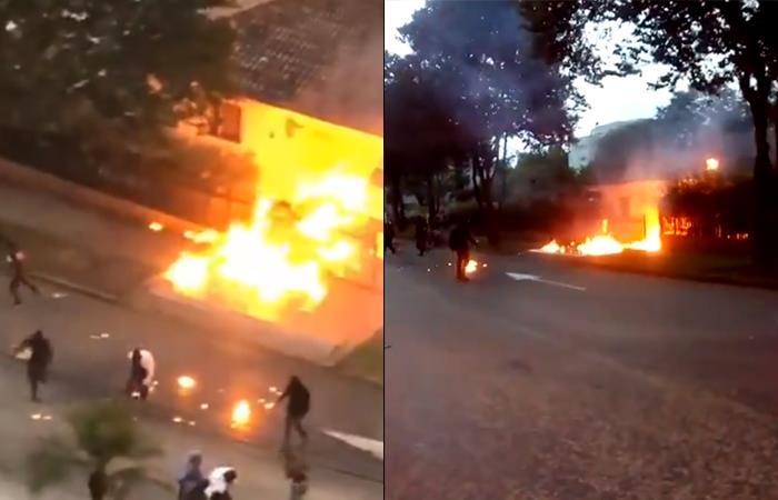 Queman casa de policía en Pereira