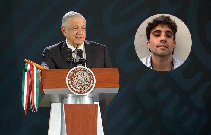Andrés Manuel López Obrador, presidente de México, y Ovidio Guzmán. /Twitter. Foto: EFE