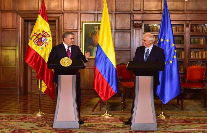 Iván Duque, presidente de Colombia, y Josep Borrell, ministro de Asuntos Exteriores, Unión Europea y Cooperación. Foto: Twitter