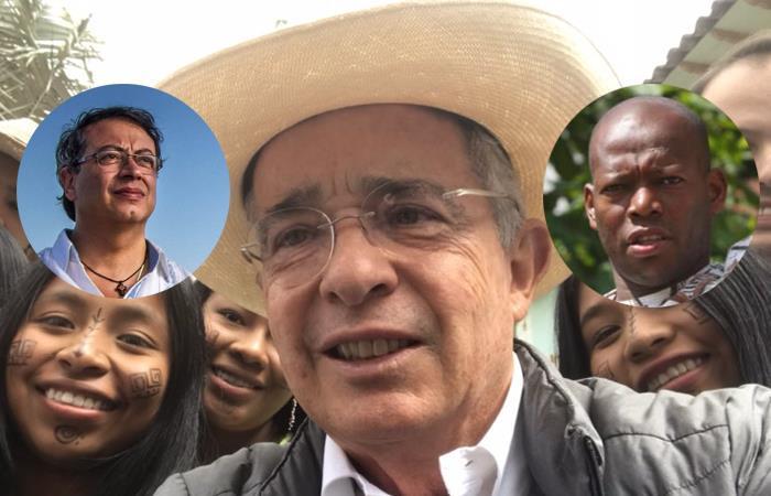Gustavo Petro (izq), Álvaro Uribe (centro) y Faustino Asprilla (der). Foto: Twitter