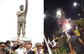 [VIDEO] Manifestantes en Bolivia derriban estatua de Hugo Chávez tras presunto fraude electoral