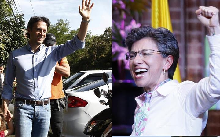 Daniel Quintero, alcalde electo de Medellín, y Claudia López, alcaldesa electa de Bogotá. Foto: EFE