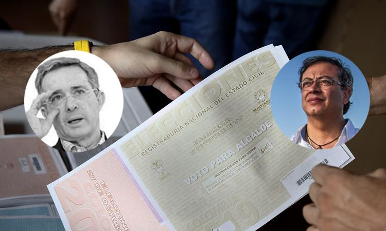 Álvaro Uribe (izq) y Gustavo Petro (der). / Twitter. Foto: EFE