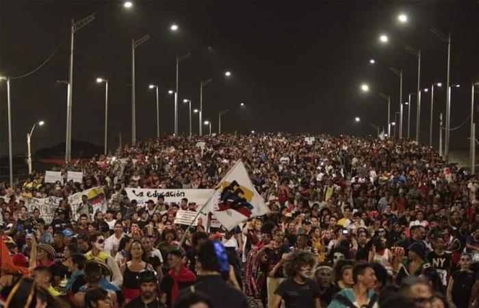 Así se vio la marcha estudiantil en Barranquilla. Foto: Twitter