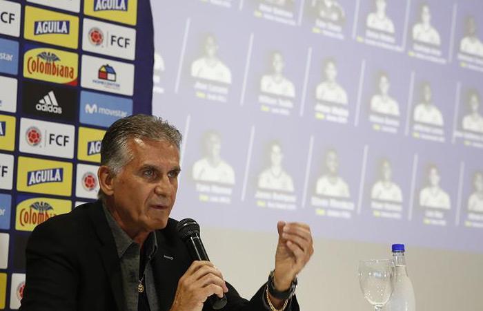 Carlos Queiroz en la rueda de prensa en Medellín donde se conocieron los convocados. Foto: EFE