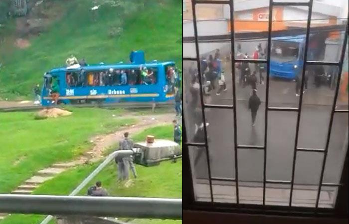 Vándalos robaron bus del SITP en Bogotá