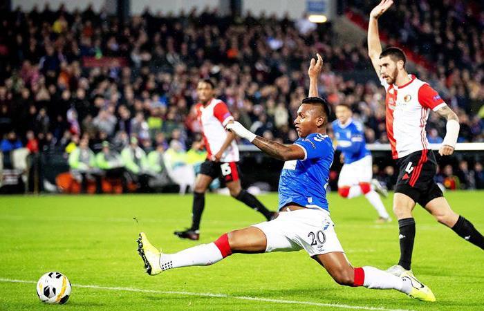 Alfredo Morelos en el partido de Europa League. Foto: EFE