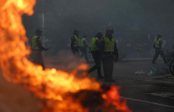 Miembros de la Policía durante Paro Nacional. Foto: EFE