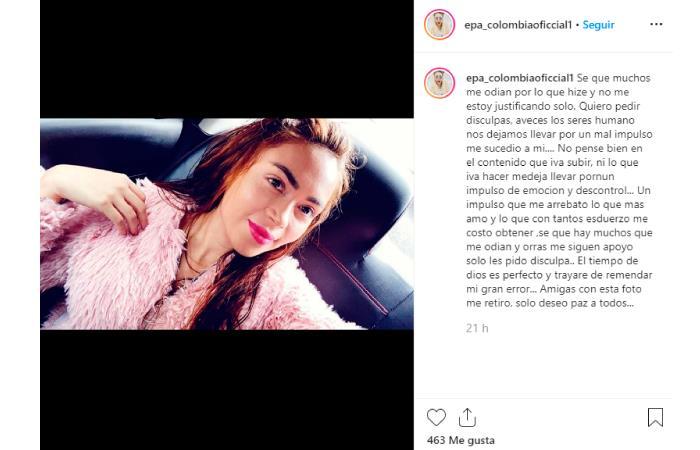 Despedida Epa Colombia Danidy Barrera redes sociales Instagram