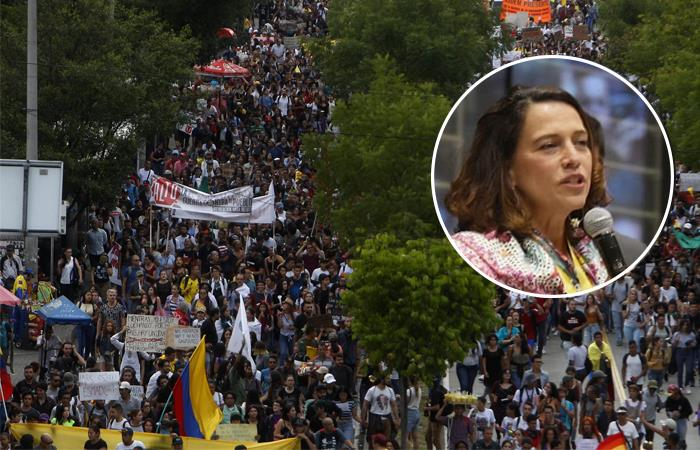 Nancy Patricia Gutiérrez se refirió al Paro Nacional. y Twitter. Foto: EFE