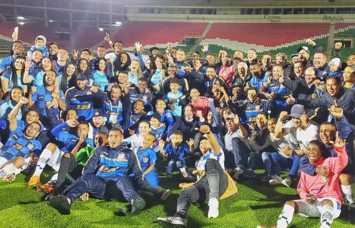 Boyacá Chicó acompañará a Deportivo Pereira en la oprimera divisón del fútbol colombiano en 2020. Foto: Twitter