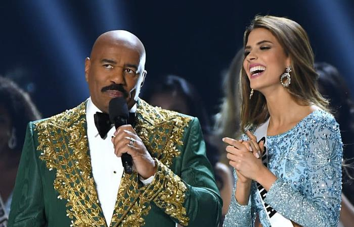 El pésimo chiste que hizo Steve Harvey en Miss Universo sobre Colombia. Foto: AFP