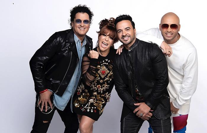 Alejandra Guzmán, Fonsi, Wisin y Vives. Foto: EFE
